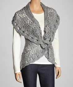 Gray Link Knit Wool-Blend Sweater Vest