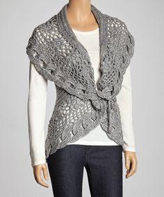 Gray Link Knit Wool-Blend Sweater Vest