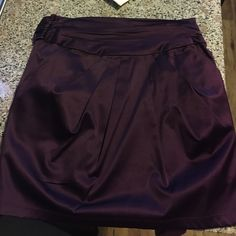 Purple satin mini skirt Great for fall and winter! Very flattering Moa Moa Skirts