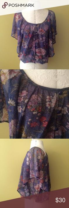 """KIMCHI BLIE FLORAL TOP EUC. 100% nylon. 14"""" bust 15"""" length   **bundles save 10%** no trades/no modeling/no asking for lowest Urban Outfitters Tops Blouses"""