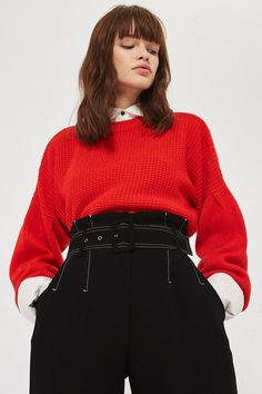 0a8cf77fe74f It's all about the wide leg trousers this season, and this pair has  contrasting stich