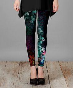 Look at this #zulilyfind! Blue & Black Floral Leggings - Plus Too #zulilyfinds