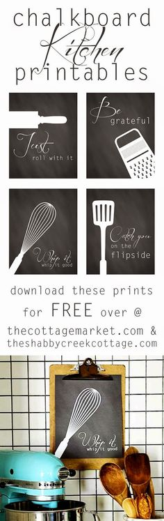 Best DIY Projects: a set of four free kitchen art printables