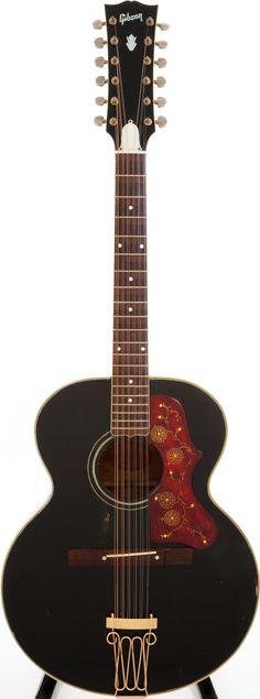 David Guards 1960 Gibson J-200 Custom Black 12-String Acoustic #Guitar