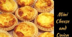 I made batch of mini cheese and onion quiches with this recipe and then one whole full-sized cheese and onion quiche. The mini ones are bite-sized quiches filled with cheese and onion deliciousness; little mouthfuls of melt-in-your-mouth heaven!