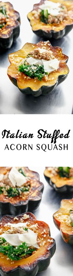 Stuffed squash is better than ever with this Italian Stuffed Acorn Squash recipe! What a great and easy dinner via @thebrooklyncook