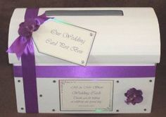 Cadburys Purple Orchid Wedding Chest Post Box with Diamantes