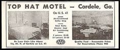 Top Hat Motel Ad Cordele Georgia 1953 AC Tile Baths Roadside Photo Ad Travel