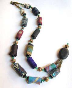 Gypsy vogue hand rolled reclaimed fiber necklace- Street Fashion