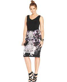 Modamix Plus Size Printed Pencil Skirt Macys
