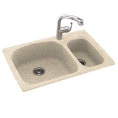 Dual Mount Composite 33 in. 1-Hole Double Bowl Kitchen Sink in Tahiti Desert