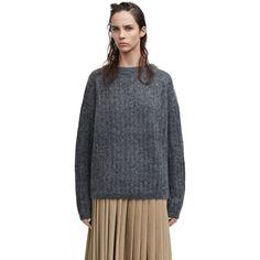 Acne Studios - Dramatic moh grey melange Beige Sweater, Ribbed Sweater,  Beige Skirt, 2aad08ae2e7