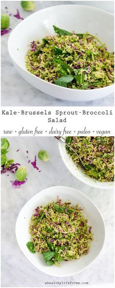 Kale Brussels Sprout Broccoli Salad is a jackpot of crunchy green vegetables, topped with a sweet apple chia seed vinaigrette.  A healthy,raw, vegan, gluten free, dairy free, paleo friendly salad.- A Healthy Life For Me