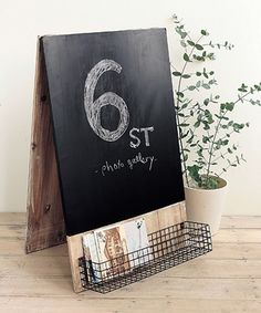 This Rustic Standing Blackboard with Basket by Time Concept is perfect! #zulilyfinds