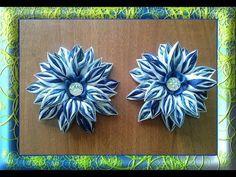 Бело синий бантик канзаши / White blue kanthaki bow - YouTube