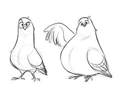 Coo - coo Check out this project: Cartoon Sketches, Animal Sketches, Art Sketches, Animal Illustrations, Bird Drawings, Cute Drawings, Animal Drawings, Cartoon Kunst, Cartoon Art