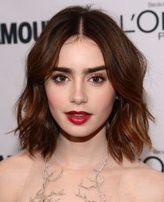 Pretty Lily Collins Celebrity Bob Hairstyles