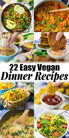 you looking for easy vegan dinner recipes now that the kids are back in school? Then look no further! I've got you covered with 22 simple vegan recipes that are perfect for the whole family. Lots of one pot recipes as well as pasta and rice dishes! Vegan Recipes Videos, Vegan Dinner Recipes, Delicious Vegan Recipes, Vegan Recipes Easy, Whole Food Recipes, Vegetarian Recipes, School Dinner Recipes, Vegetarian Kids, Kid Recipes