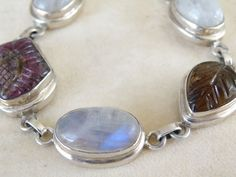 Vintage Chunky Sterling Silver 925 Moonstone Carved Natural Tourmaline Bracelet #Handmade #Statement