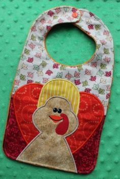 Turkey Bib Machine Embroidery Design for by SewingForSarah Machine Embroidery Designs, Embroidery Patterns, Fall Sewing, Baby Embroidery, Leftover Fabric, Baby Bibs, Softies, Baby Quilts, Baby Shower Gifts