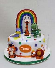 Baby Tv en 1 piso ! Baby Tv Cake, Baby Cakes, Fondant Cakes, Cupcake Cakes, 1st Bday Cake, Birthday Cakes, Mickey Mouse Cake, 1st Birthdays, Cakes And More