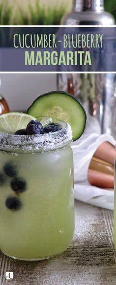 What could be better than a fruity and refreshing margarita? Blueberry Margarita, Cucumber Margarita, Blueberry Cocktail, Cucumber Cocktail, Cucumber Drink, Cocktail And Mocktail, Margarita Mix, Margarita Recipes, Tequila Mixed Drinks