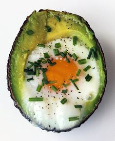 For a one-two punch of omega-3s in your breakfast, try baked eggs in avocado. The low-sugar, high-protein, and fiber-filled breakfast will kick off your day on a healthy high note. Photo: Lizzie Fuhr