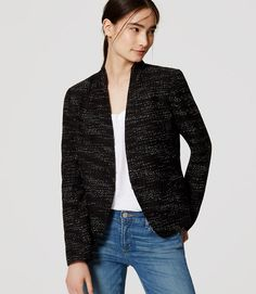 A sleek fit and collarless cut make the forever-polished tweed blazer feel especially fresh and modern. Hook-and-eye front. Flared at back waist. Lined. Tweed Blazer, Tweed Jacket, Blazer Jacket, Tall Clothing, Petite Sweaters, Tweed Fabric, Autumn Fashion, Clothes For Women, Work Clothes