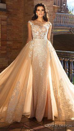 Crystal Design 2017 bridal cap sleeves jewel neckline heavily embroidered bodice princess elegant ivory color detachable skirt sheath wedding dress a  line overskirt  low back long train (odri) mv #wedding #bridal #weddingdress