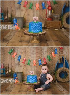 Gone Fishing Cake Smash  with Michelle Voigt Photography www.mvoigtphotography.com mvoigtphotography@gmail.com #gonefishing #mvoigtphoto College Station Photographer