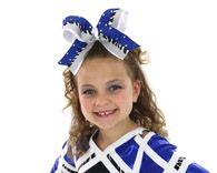Girls Hair Bows Glitzy Royal Blue Zebra Big Cheer Bow Silver Shown In A Quality 4 Ribbon Black Whi