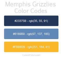 Memphis Grizzlies Team Color Codes