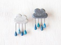 Drizzle Brooch (Light or Dark) - handmade clay rain cloud brooch/pin. $12.00, via Etsy.
