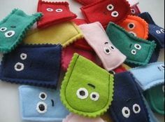 Monster finger puppets made out of felt. All you need is some pinking shears (or reg scissors) to cut the shapes.. sew them together and add a face with more felt pieces or paint them on.  Totally going to make some of these to add in with my nephews birthday gift!