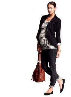 Stripe spring summer maternity outfit- I always forget about the ...