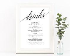 Drinks Menu Sign Printable  Wedding Bar Menu  Signature