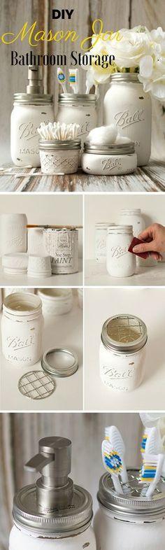 Check out the tutorial: #DIY Mason Jar Bathroom Storage @istandarddesign