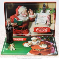 Coca-Cola Santa Christmas Kitchen Placemat Set | Holiday Decor | RetroPlanet.com