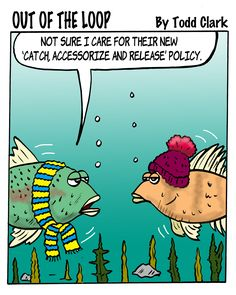 "Something's fishy.... it's a new ""Out of the Loop,"" the comic for those who love to knit and crochet!"