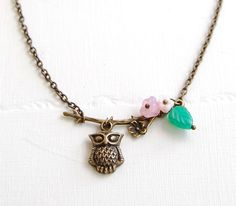 Owl Necklace Brass Owl and Tree Branch Necklace with by LeChaim, $18.00