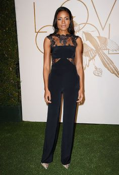 Any question that jumpsuits have a place on the red carpet were answered by Naomie Harris's lace design at LoveGold's Oscars event.