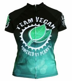 """Team Vegan """"Powered by Plants"""" Women's Cycling Jersey - Front View.  Save with FAST - Free SHIPPING from CycleGarb.com"""