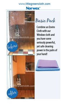 Norwex Basic Package includes the Enviro Cloth and Window Cloth.  It is the perfect go-to package for most of your cleaning tasks, and does an amazing job cleaning windows and mirrors.