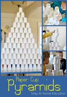 Building paper cup pyramids is such a fun STEM activity for preschoolers, and on the cheap, too! Kids can work individually on building their own pyramid, then try working collaboratively. (art on paper activities) Preschool Science Activities, Home Activities, Summer Activities, Learning Activities, Indoor Activities, Camping Activities, Africa Activities For Kids, Stem Preschool, Educational Activities For Preschoolers