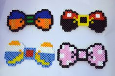 Disney Mickey Mouse, Minnie Mouse, Donald Duck, Goofy bows perler beads by SamsFreeSpirit