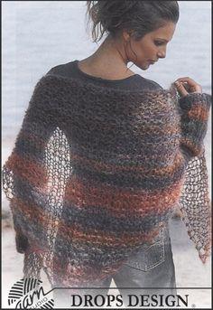 Breien - Gratis puntsjaal breipatroon + polswarmers Fingerless Gloves Knitted, Knitted Shawls, Crochet Scarves, Crochet Shawl, Crochet Clothes, Knit Crochet, Poncho Shawl, Capelet, Shawl Patterns