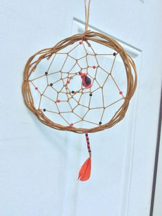 Bird dream catcher red dream catcher by JeriAielloartstore on Etsy