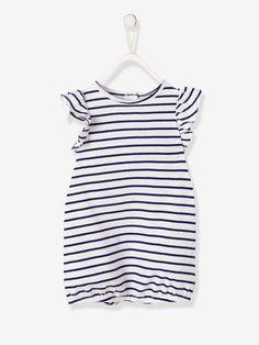 5943648c8faef Combishort bébé fille imprimée blanc raye - Avis de beaux temps ! Petits  volants et motifs