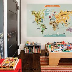 World Map Kids World Map Poster Educational Map door SimpleShapes