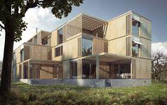 Visualisierung 3-Familienhaus in Cham, 2013 entworfen von Osterhage Riesen Architekten Interior Rendering, Interior Architecture, Mansions, House Styles, Home Decor, Real Estates, Architecture, Mansion Houses, Homemade Home Decor
